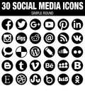 Round social media icons collection black elegant modern the base must have icon set for webdesign and graphicdesign with all the Royalty Free Stock Image