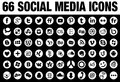 66 Round Social Media Icons white Royalty Free Stock Photo