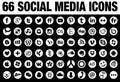 66 Round Social Media Icons white