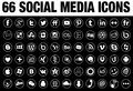 66 Round Social Media Icons white with tin border