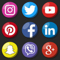 Round social media logo or social media icon template set. Social network web button.