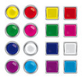 Round and square glass buttons for web Royalty Free Stock Photo