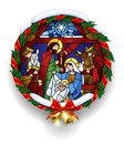Round stained glass with the Christmas scene in holly wreath Royalty Free Stock Photo