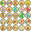 Round stamps with teddies Royalty Free Stock Image
