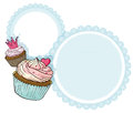 A round stationery with two cupcakes illustration of on white background Stock Photo