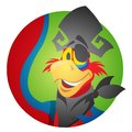 Round sticker with the image of a cheerful parrot in a pirate hat and eye patch. Cartoon illustration for gaming mobile applicatio