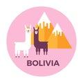 Round sticker label of Bolivia Royalty Free Stock Photo