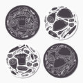 Round stickers set with doodle food patterns. Hand drawn emblem template Royalty Free Stock Photo