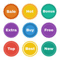 Round stickers with the text in a flat style with texture Stock Photography