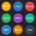 Round stickers with the text in a flat style with texture Royalty Free Stock Photos