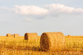 Round straw bales large leading to sky background oil seed rape Stock Photography