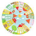 Round street cartoon with colorful houses Royalty Free Stock Photos
