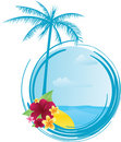 Round summer banner with flowers Royalty Free Stock Images