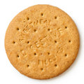 Round sweetmeal digestive biscuit isolated from above. Royalty Free Stock Photo