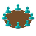 Round table with buddy icons vector Royalty Free Stock Images