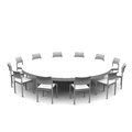 Round table with chairs in white Stock Photos