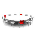 Round table with chairs in white and red Stock Photos