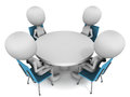 Round table conference men sitting on meeting white background concept Royalty Free Stock Photos