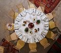 Round table with food, top view. High Angle View of serving restaurant food table