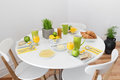 Round table with tasty breakfast white and healthy Royalty Free Stock Photography
