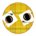 Round table and two coffee cups Royalty Free Stock Photo