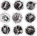 Round tattoos with animals set of black and white vector illustrations Stock Images