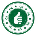 Round thumbs up ok icon or symbol green button stamp with green word Royalty Free Stock Image
