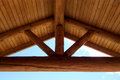 Round Timber Frame Gabel Roof Beams Royalty Free Stock Photo
