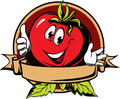 Round tomato cartoon label Stock Photography