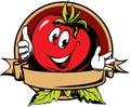 Round tomato cartoon label Royalty Free Stock Photo