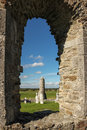 Round tower and tombs. Clonmacnoise. Ireland Royalty Free Stock Photo