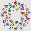 Round Toys Pattern. Vector illustration EPS10 for sticker, label or price tag