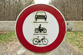 Round traffic sign, the passage of vehicles and motorcycles prohibited Royalty Free Stock Photo