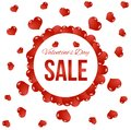 Round Valentine`s Day Sale Banner with Flying Red Hearts