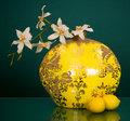 Round vase with white flowers and two lemons Royalty Free Stock Image