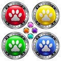 Round vector button set with pet paw print ico Stock Photos
