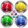 Round vector button set with treble clef ico Stock Image