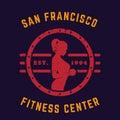 Round vintage emblem, logo, gym t-shirt print