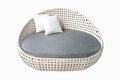 Round white gray fabric sofa Royalty Free Stock Photo