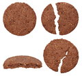 Round wholewheat biscuits with cocoa set isolated on white background Stock Photography