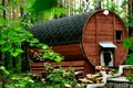 Round wooden bath in nature Royalty Free Stock Photo