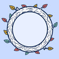 Round wooden frame vector illustration Stock Image