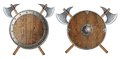 Round wooden knight shield and two crossed battle Royalty Free Stock Photo