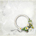Round Wooden photo framework with flowers Royalty Free Stock Photo