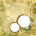 Round wooden photo frameworks Royalty Free Stock Photo