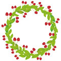 Round wreath with green leaves and red cherry Fresh juicy berries isolated on white background. Vector Royalty Free Stock Photo