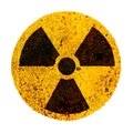 Photo : Nuclear Round yellow black radioactive ionizing radiation nuclear alert danger symbol rusty metal. Radiation nuclear energy symbol   danger