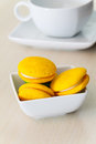 Round yellow marron cookies Stock Photo