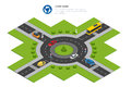 Roundabout, cars, roundabout sign and roundabout road. Asphalted Road Circle. Vector isometric illustration for Royalty Free Stock Photo