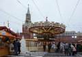 Roundabout in the red square moscow within european christmas fair Stock Photography